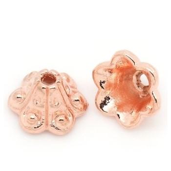 Rosenguld endekas / perleskål 10 mm - 4 stk