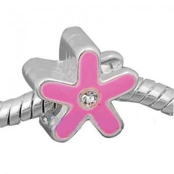 Pink blomst med sten / 5 mm...