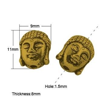 Buddha 11 x 9 mm 2 mm hul guld - 2 stk