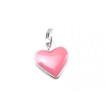Hjerte vedhæng med rosa emalje