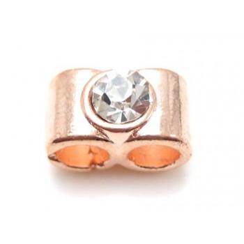 Perle med 2 store huller og sten