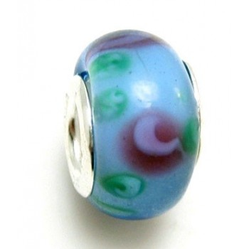 Glas led / charms med flot mønster i blå nuancer