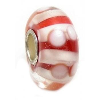 Glas led / charms flot i rød og hvide farver
