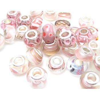 Glas led / charms flot i rosa farve
