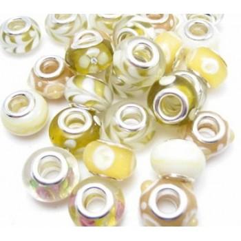 Glas led / charms flot i lyse gul farve