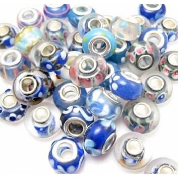 Glas led / charms flot i blå farve