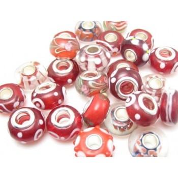 Glas led / charms flot i rød farve