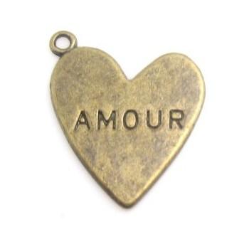 "Hjerte antik bronze "" AMOUR"" 4 STK"