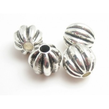 Sølv perle med mønster 14 / 3 mm - 4 STK
