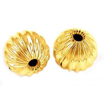 Rillet perle  guld 10 mm -...