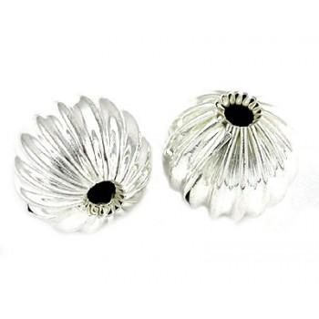 Rillet perle sølv 10 mm - 1 stk