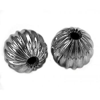 Rillet perle gunmetal 10 mm - 1 stk