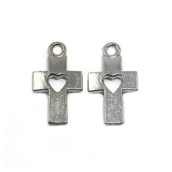 Kors med hjerte 20 mm - 2 STK
