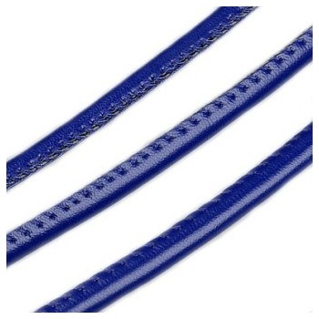 Randsyet / kantsyet BLÅ IMIT læder 6 mm - 1 m - SUPERTILBUD