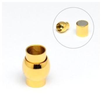 Stål lås / guld med magnet  6 mm hul