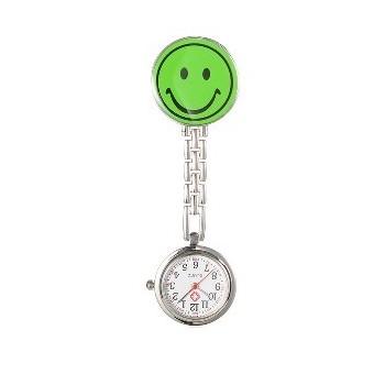 Sygeplejer ur med smiley Grøn 87 mm