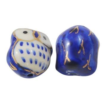 Porcelæns ugle 15 mm Blå m/guld