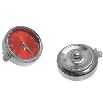 Tryk knap ur sølv / rød