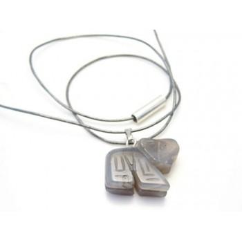Halskæde læder med sten elefant  - 50 cm
