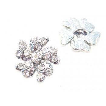 Smuk sølv blomster knap med stene 18 / 2,7 mm