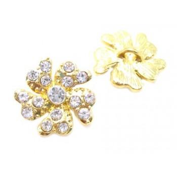 Smuk Guld  blomster knap med stene 18 / 2,7 mm