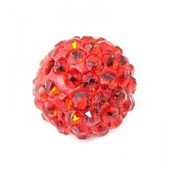 Perle med stene 10 / 1 mm - Rød