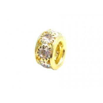 Led med stene guld - 10 / 5 mm