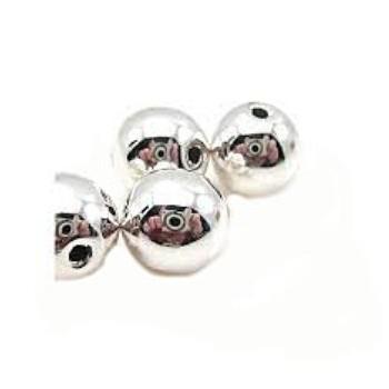 Julekugle  sølv voks perle 10mm -  sølv - 8 stk