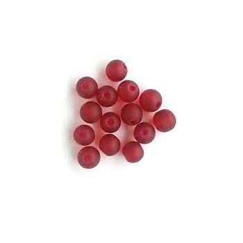 Røde frostede glas perler 8/1 mm - ca 50 stk - SUPERTILBUD