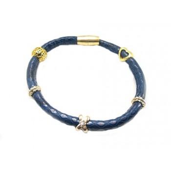 Blå slange armbånd med charms - vælg str