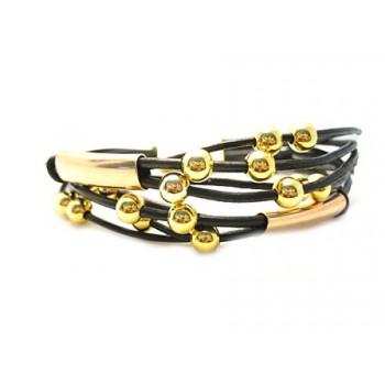 Smart læder armbånd med rør og kugler i guld - vælg størrelse