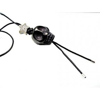 Læder kæde med sort sten kranie & sort stjerne med stene 75 cm