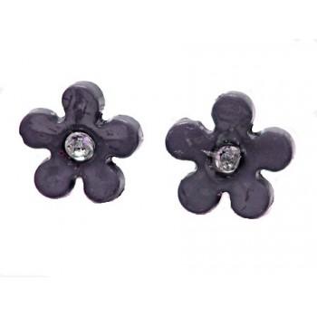Ørestikker med sort blomst med sten11 mm