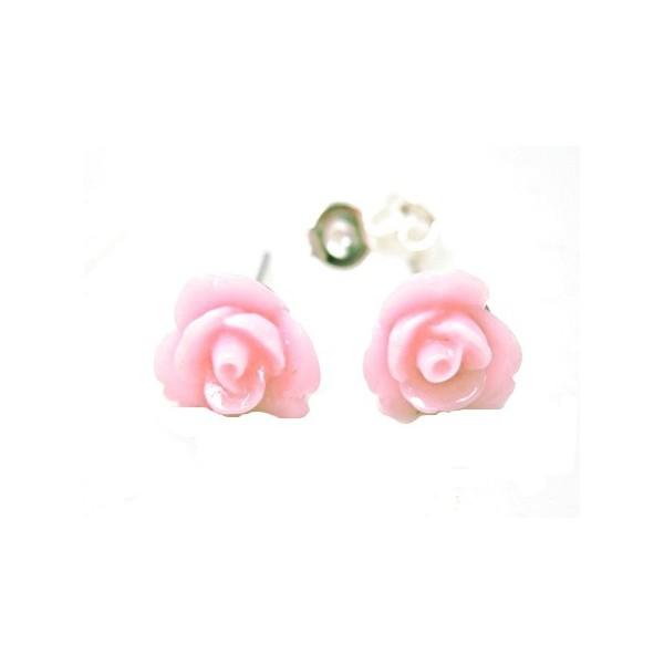 Ørestikker med Rosa rose 8 mm