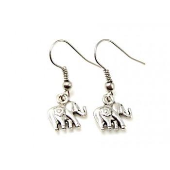 Øreringe med Elefant  - Sølv  10 mm