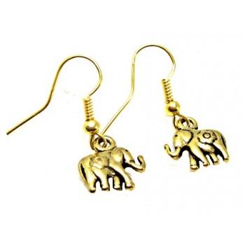 Øreringe med Elefant  - Guld  10 mm
