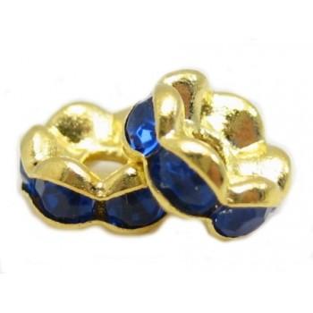 Guld rondel 6mm - blå - 4 stk