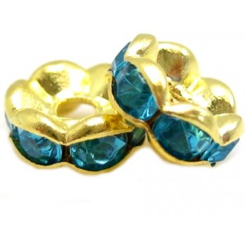 Guld rondel 6 mm - turkis -...