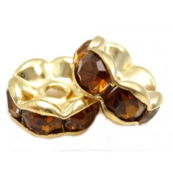 Guld rondel 8mm - brune...