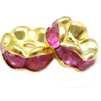 Guld rondel 8mm - rosa/pink stene - 2 stk