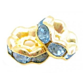 Guld rondel 6mm - isblå - 4...