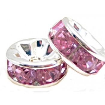 Sølv fs rondel 8mm - rosa...