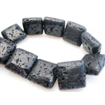 Lava firkantet flad rå sort 10 mm - 6 stk