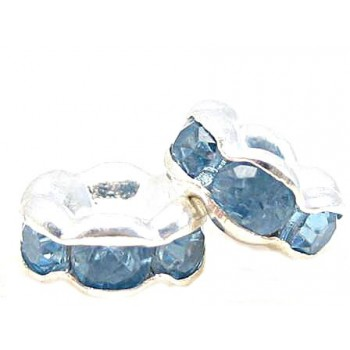Sølv fs rondel 6 mm - mellemblå stene - 4 stk