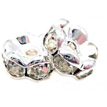 Sølv  rondel fs 8mm klare stene - 2 stk