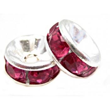 Sølv fs rondel 8 mm -  pink...