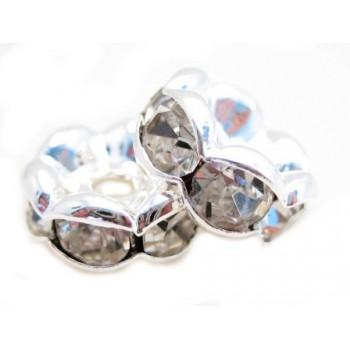 Sølv fs rondel 8mm - klare stene 2 stk