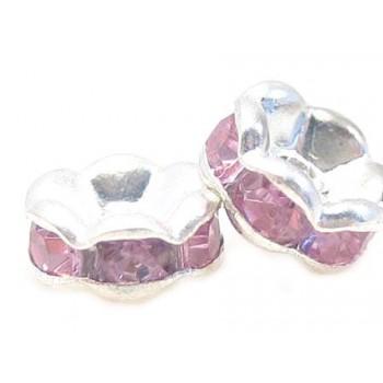 Sølv fs rondel 6mm -  rosa...