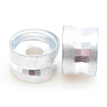 Sølv metal perle med skåret ring 6 mm - 10 stk