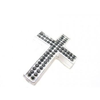 Kors sølv med stene sorte 38 / 3 mm - EKSKLUSIV